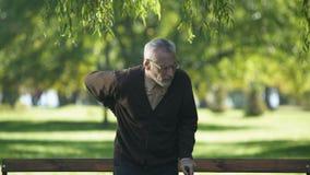 Position masculine pluse âgé du banc, mal se sentant dans le dos, problèmes de santé clips vidéos