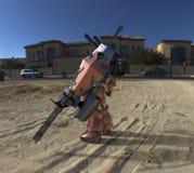 Position mech de soldat de la science fiction sur un fond de paysage Robot futuriste militaire avec un vert et un m?tal gris de c illustration stock
