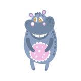 Position mignonne de caractère d'hippopotame de bande dessinée, illustration de vecteur de vue de face Images libres de droits