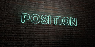 POSITION -Realistic Neon Sign on Brick Wall background - 3D rendered royalty free stock image. Can be used for online banner ads and direct mailers Stock Image