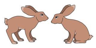 Position simple de style de bande dessinée du vecteur deux et dessins bruns se reposants de lapin illustration stock