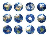 Positioner för planetjordjordklot vektor illustrationer