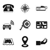 Positioning icons set, simple style. Positioning icons set. Simple set of 9 positioning vector icons for web isolated on white background Royalty Free Stock Image