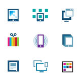 Positioning yourself edit content and share with world logo icon Stock Images