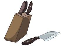 Positionnement à la maison de couteau de cuisine de dessin animé Images stock