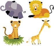 Positionnement animal de vecteur de dessin animé de safari Images libres de droits