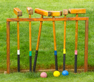 Positionnement antique de jeu de croquet Photographie stock