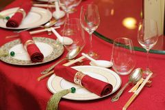 Positionnement chinois de table de mariage images stock