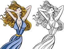 Positionnement circulant de femme de cheveu image stock