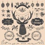 Positionnement d'éléments de conception de Noël Image libre de droits