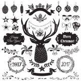 Positionnement d'éléments de conception de Noël Photos stock