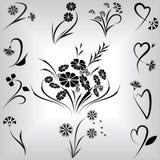 Positionnement d'éléments de conception florale Photo libre de droits