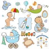 Positionnement d'éléments neuf de bébé illustration de vecteur
