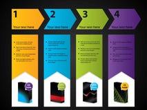 Positionnement d'étiquette numéroté avec des produits illustration stock