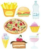 Positionnement d'aliments de préparation rapide Photos libres de droits