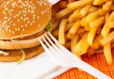 Positionnement d'aliments de préparation rapide images libres de droits