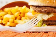 Positionnement d'aliments de préparation rapide Images stock