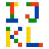 Positionnement d'alphabet fait de blocs de brique de construction de jouet Image stock