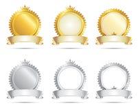Positionnement d'or et d'argent de sceau d'approbation illustration stock