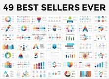 Positionnement d'infographics de vecteur 49 best-sellers de glissières Entourez les diagrammes, les graphiques de flèches, les pr illustration libre de droits