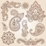Positionnement d'éléments de conception de tatouage de Mehndi de griffonnages de henné Images libres de droits