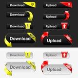 Positionnement de bouton de téléchargement et de téléchargement Photos libres de droits