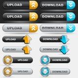 Positionnement de bouton de téléchargement et de téléchargement Photo stock