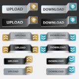 Positionnement de bouton de téléchargement et de téléchargement Images stock