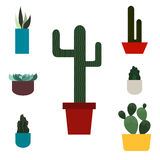 Positionnement de cactus Style plat Illustration de vecteur Image stock