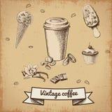 Positionnement de café tiré par la main illustration de vecteur