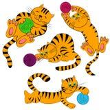 Positionnement de chat de dessin animé. chatons d'animal familier Images libres de droits