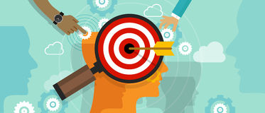 Positionnement de cible de stratégie dans des échecs de tête humaine de position de concept du marché de vente d'esprit de client Image libre de droits
