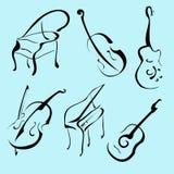Positionnement de conception d'instruments de musique illustration libre de droits