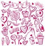 Positionnement de croquis du jour de Valentine Image stock