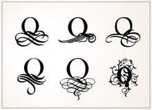 positionnement de cru Majuscule Q pour des monogrammes et des logos Belle police en filigrane Style victorien Photos libres de droits