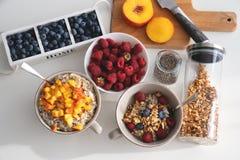 Positionnement de déjeuner Gruau avec l'abricot, les baies et la granola coupés en tranches Photos libres de droits