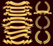 Positionnement de drapeau d'or illustration stock