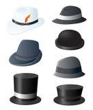 Positionnement de fantaisie du chapeau de l'homme Images libres de droits