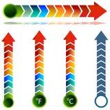 Positionnement de flèche de la température de thermomètre Image stock