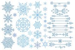 Positionnement de flocon de neige Ensemble de frontière L'hiver gribouille le décor Photos libres de droits