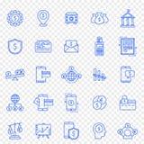 Positionnement de graphisme de banques et de finances 25 icônes de vecteur emballent illustration de vecteur