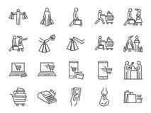 Positionnement de graphisme d'achats Icônes incluses comme achat, sacs shopaholic, de poignée, chariot, boutique et plus illustration de vecteur