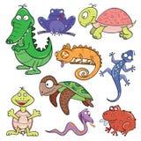 Positionnement de graphisme de griffonnage de reptiles et d'amphibies Images stock