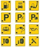 Positionnement de graphisme de signes de services de bord de la route de vecteur. Partie illustration de vecteur