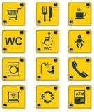 Positionnement de graphisme de signes de services de bord de la route de vecteur. Partie Image libre de droits