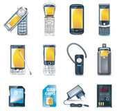 Positionnement de graphisme de téléphones portables de vecteur Images libres de droits