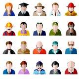 Positionnement de graphisme de gens Icônes plates d'avatar d'hommes et de femmes illustration stock