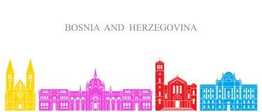 Positionnement de la Bosnie-et-Herzégovine Architecture d'isolement de la Bosnie-Herzégovine sur le fond blanc Images stock