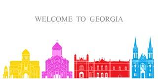 Positionnement de la Géorgie Architecture d'isolement de la Géorgie sur le fond blanc illustration libre de droits