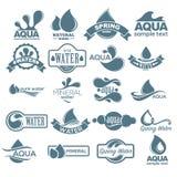 Positionnement de logo Label pour l'eau minérale Collection d'icônes d'Aqua Vecteur Images stock